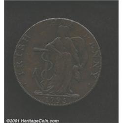 1795 1/2P Washington Liberty & Security Halfpenny Mule Fine 12 Porous Uncertified.