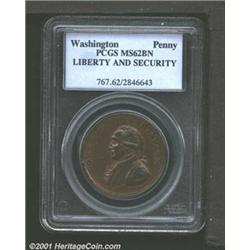 Undated PENNY Washington Liberty & Security Penny MS62 Brown PCGS.