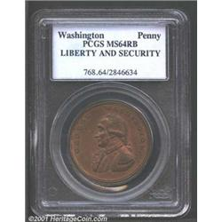 Undated PENNY Washington Liberty & Security Penny MS64 Red and Brown PCGS.