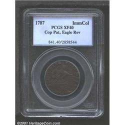 1787 PIECE Immunis Columbia Pattern, Eagle Reverse XF40 PCGS.