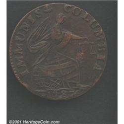 1787 PIECE Immunis Columbia Piece, Eagle Reverse XF45 Lacquered Uncertified.