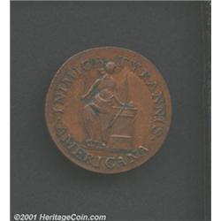 1785 COPPER Confederatio Copper, Large Circle  Restrike MS60 Brown Uncertified.