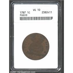 1787 1C Fugio Cent, UNITED STATES, No Cinquefoils VG10 ANACS.
