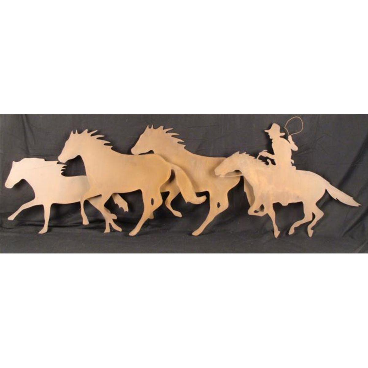 Large Cowboy Horses Metal Wall Art Sculpture