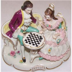Antique Dresden Couple at a Chess Board.