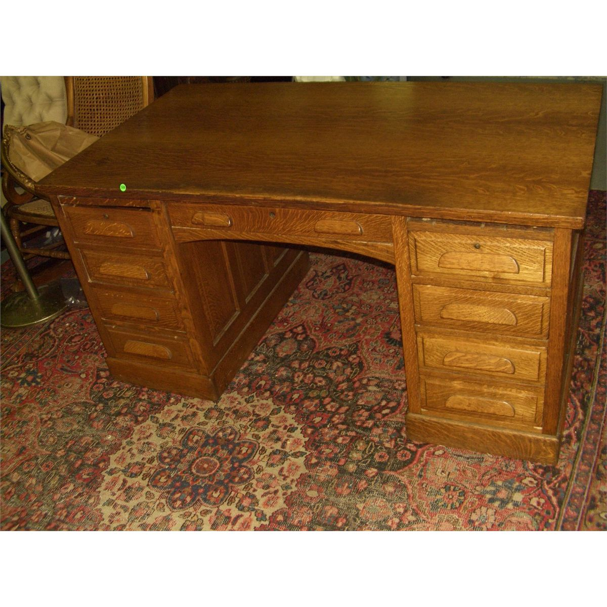 Outstanding American Oak Arts Crafts Double Bank Desk Professionally Refinished Ssr Download Free Architecture Designs Scobabritishbridgeorg