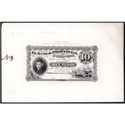 Banco Provincial de Cordoba, 1881 Issue Presentation Proof Face & Back.