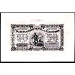 Banco Provincial de Cordoba, 1881 Issue Presentation Proof Face.
