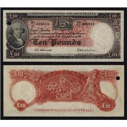 Commonwealth of Australia, 10 Pounds, 1960-65 Specimen Banknote.