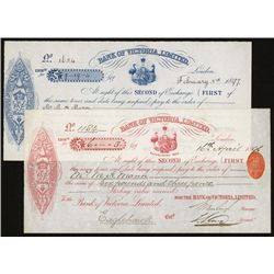 Bank of Victoria, 1890's Second of Exchange.