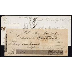 Hobart Town, Derwent Bank Check - Scrip Note and Promissory Note Pair.