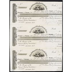 National Bank of Australasia Uncut sheet of 3 Proof Exchanges.