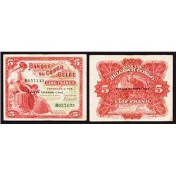 Banque De Congo Belge, 1942 Issue Banknote.