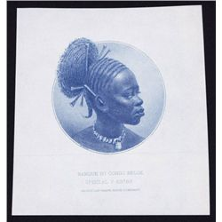 Banque Du Congo Belge, Proof Portrait of Woman from Face of 500 Francs, ND 1941 Issue.