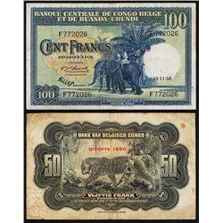 Banque Centrale Du Congo Belge Et Du Ruanda-Urundi, 1953 Issue Banknote.