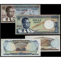 Banque Nationale Du Congo, 1961 Issue Specimen Pair.