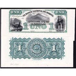 Banco Nacional De Bolivia, 1874 Antofagasta Issue Proof.