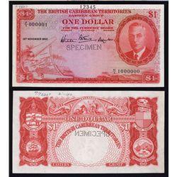British Caribbean Territories, Eastern Group Specimen Banknote.