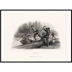 Dominion of Canada Proof Vignette of Lumberjacks Used on Face of $1 1897-1900 Issues.