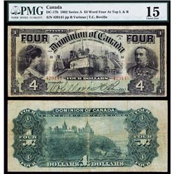 """Dominion of Canada, $4, 1902 Issue """"Four Twice on Top""""."""