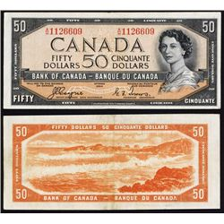 "Bank of Canada, $50 ""Devil Face Hairdo"" 1954 Issue Banknote."