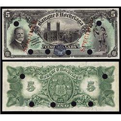 Banque D'Hochelaga Color Trial Specimen Banknote.