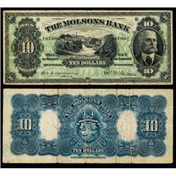 Molsons Bank, 1916 Issue Banknote.