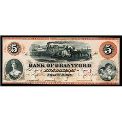 Bank of Brantford, 1859 Sault Ste. Marie Branch Issue Obsolete Banknote.