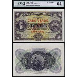 Banco Nacional Ultramarino, 1921 Issue Banknote Specimen.