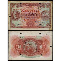 Banco Nacional Ultramarino, Cabo Verde, 1941 Issue Specimen Banknote.