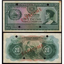 Banco Nacional Ultramarino, Cabo Verde, 1945 Issue Specimen Banknote.