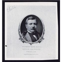 Banco De Jose Bunster, Proof Portrait Used on 1882 Issue Banknote.
