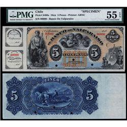 Banco De Valparaiso, 1881 Issue Specimen Banknote.