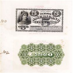 El Banco Americano, 1883 issue Proof of Unissued 5 Pesos Denomination