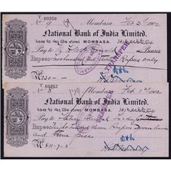 National Bank of India, Mombasa, 1902 Issued Check.