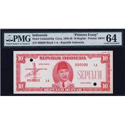 Republik Indonesia Essay Banknote Specimen.