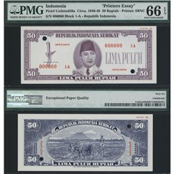 Republik Indonesia Serikat Essay Banknote Specimen.