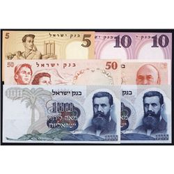 Bank of Israel, 1958 to 1968 Issues Lot of 7 notes.