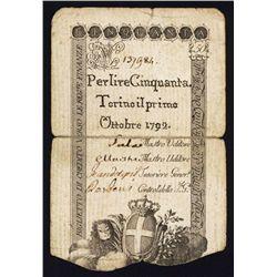 Regie Finanze-Torino, 1781; 1792 Issue.