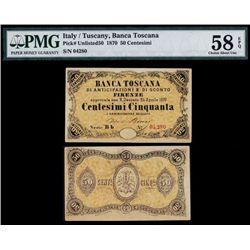 Italy, Banca Toscana, Di Anticipazioni E Di Sconto Firenze, 1870 Unlisted Banknote.