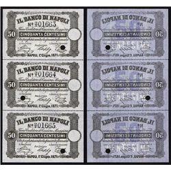 Banco Di Napoli, 1867-70 Fedi Di Credito - Regular Cash Receipts Issue Sheet of 3.