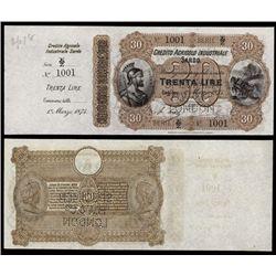 Credito Agricolo Industriale Sardo Specimen Banknote.