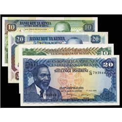 Central Bank of Kenya Lot of 4 Notes, 1978 to 1989 Issues.