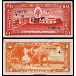 Banque National Du Laos, ND (1957) Specimen.