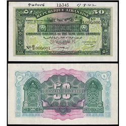 Republique Libanaise - Government Banknotes, 1942 Issue Specimen.