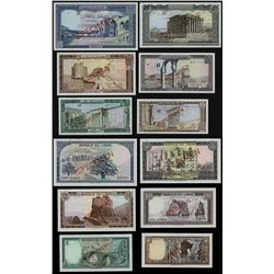 Banque Du Liban, 1964 Issue Specimen Set of 6 Notes.