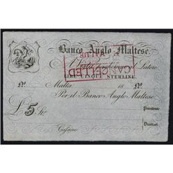 Banco Anglo Maltese, 1880's Issue.