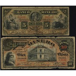 El Banco Minero, 1910 Commemorative Banknote Pair