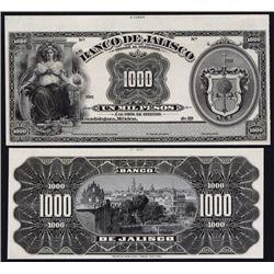 El Banco De Jalisco Proof Banknote.