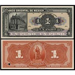El Banco Oriental De Mexico Proof Banknote.